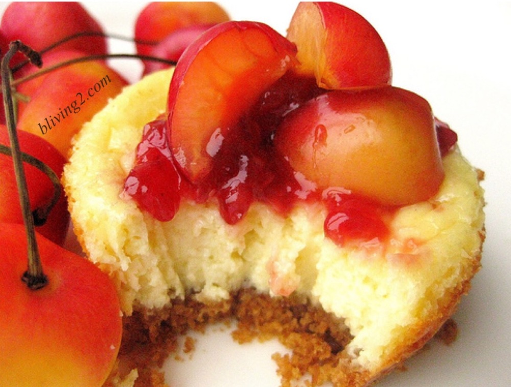 Mini Rainier Cherry Cheesecakes